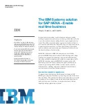 The IBM Systems solution for SAP HA...