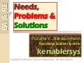 Needs, Problems and Solutions  02FEB13