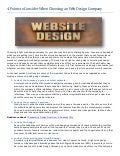 4 points to consider when choosing an web design company