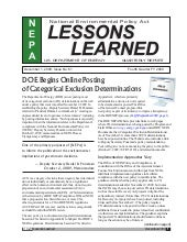 Dec. 2009 - DOE-NEPA Lessons Learned