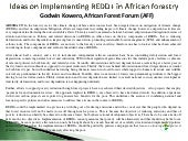 Some Ideas on Implementing REDD+ in...