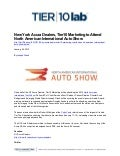 New York Acura Dealers, Tier10 Marketing to Attend North American International Auto Show