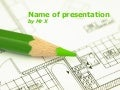 Green Pen over an Architecture Plan Free Powerpoint Template
