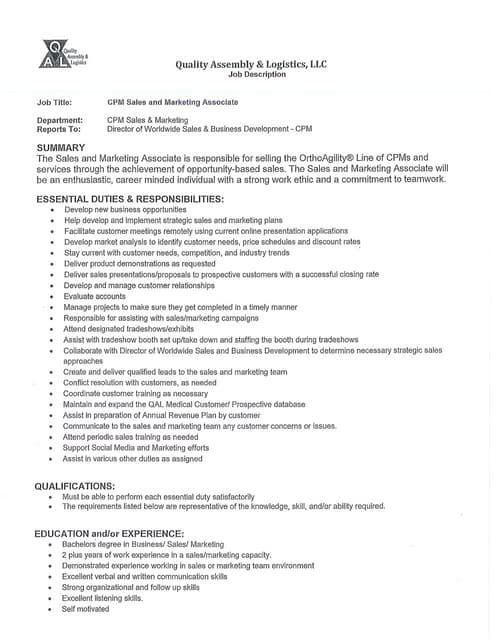 CPM Sales and Marketing Associate - Job Description