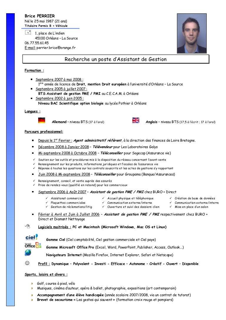 modele cv assistant gestion pme pmi