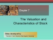 Chapter 07 Valuation & Characterist...