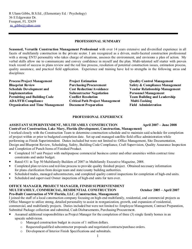 resume for r ulann gibbs construction mgt f no phone nos