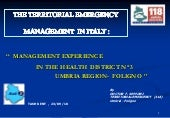 The territorial emergency managemen...