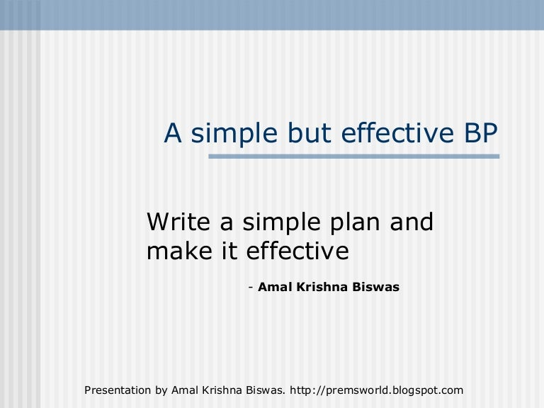 Very simple business plan