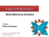Introductory Lecture to Applied Mat...