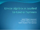 linear algebra in control systems
