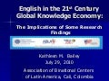 English in the 21st Century Global Knowledge Economy