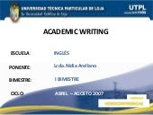 Academic Writing (I Bimestre)
