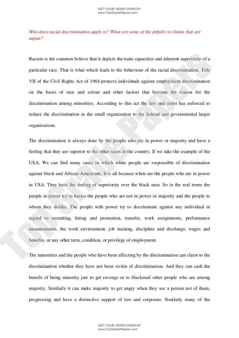 Synthesis Essay Race Essays Race Discrimination Essay Custom Racial Discrimination  Essays  On Discrimination Research Essay Proposal Example also Business Essay Structure Essays On Discrimination  Underfontanacountryinncom From Thesis To Essay Writing