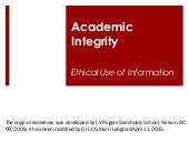 Academic Integrity: Ethical use of information