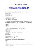 ACC 291 ACC/291 Final EXAM MCQ\s Correct Answers 100%