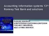 Accounting information systems 13th romney test bank and solutions