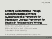 Creating Collaborations Through Connecting National Writing Guidelines to the Framework for Information Literacy: Framework for Success in Postsecondary Writing
