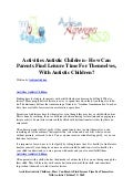 Activities autistic children   how can parents find leisure time for themselves, with autistic children