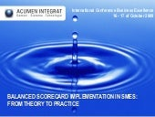 Balanced Scorecard implementation in SMEs: From theory to practice