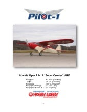 "1/8 scale Piper PA-12 ""Super Cruise..."