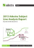 Email Marketing - Adestra Subject line Analysis Report 2013