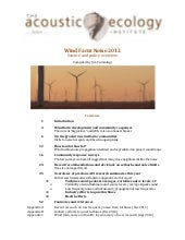 AEI Wind Farm Noise 2012: Science a...