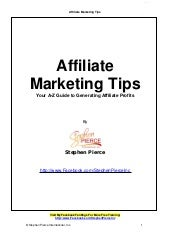 Affiliate marketing tips report