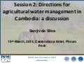 Institutional structures for productive use of agricultural water