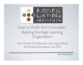 How to Profit from Innovation - The Agile Learning Organization
