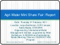 Agri-water mini Share Fair- Overall Report