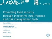 Promoting food security through innovative rural finance and risk management tools