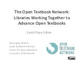 The Open Textbook Network: libraries working together to advance open textbooks