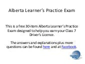 Alberta Learners Practice Exam