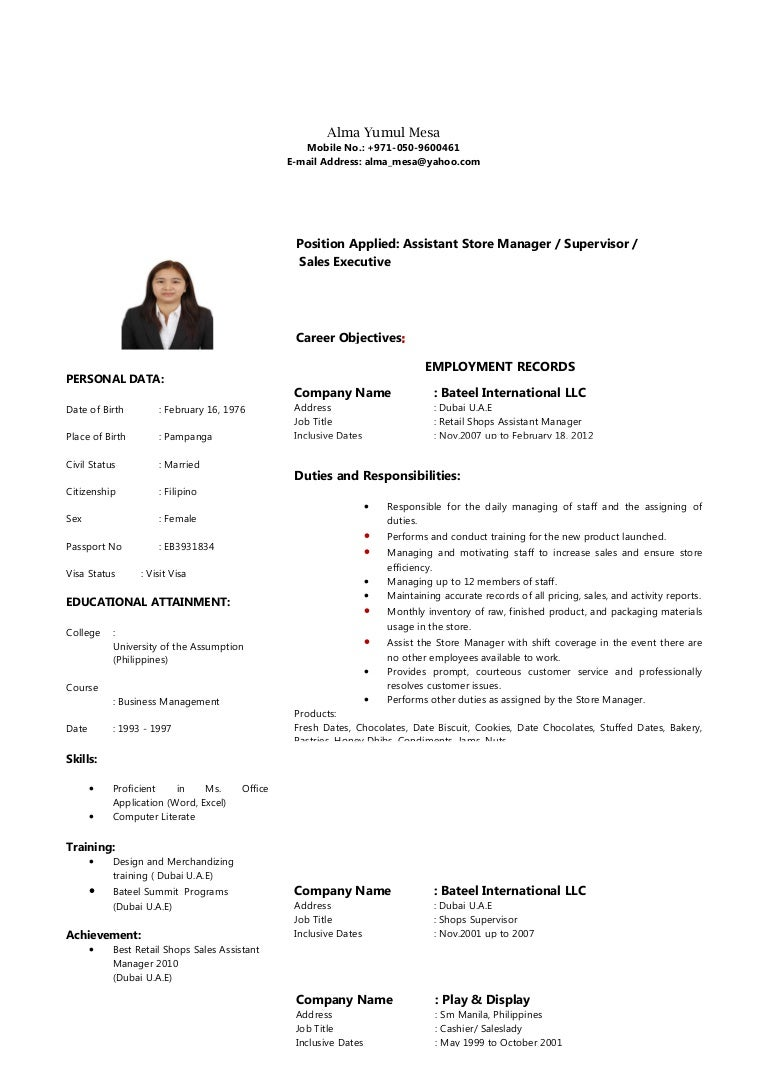 resume sample for slady