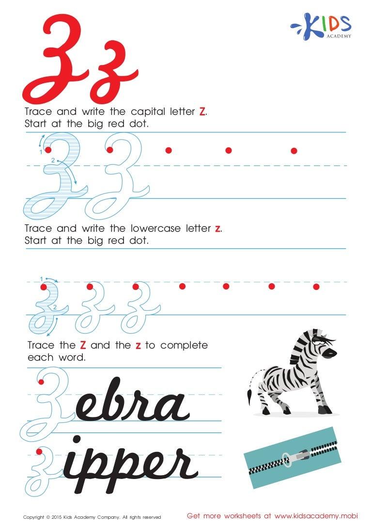 Worksheet Cursive Letter Z alphabet cursive letter z