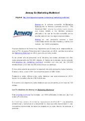 Amway en Marketing Multinivel