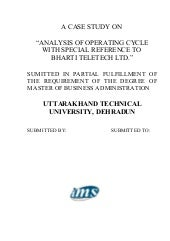 Analysis of operating cycle with sp...