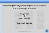 Enhancing the My home page to displ...