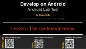 Android Lab Test : Creating a menu context (english)