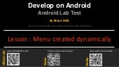 Android Lab Test : Creating a menu dynamically (english)