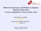 Effective Governance and Policies to Improve Nutrition Outcomes