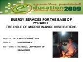 Microfinance and Renewable Energy