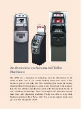 An overview on automated teller machines