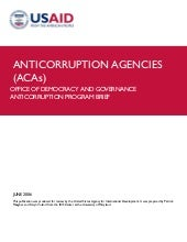 Anti corruption agencies - purpose,...
