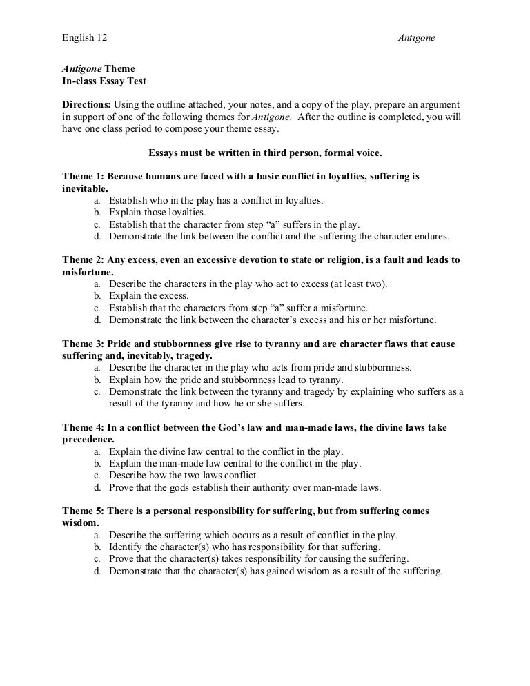 Sample Homework Assignment Sheet Essay Topics For Antigone Help  Antigone Essay Topics The Walls Of English