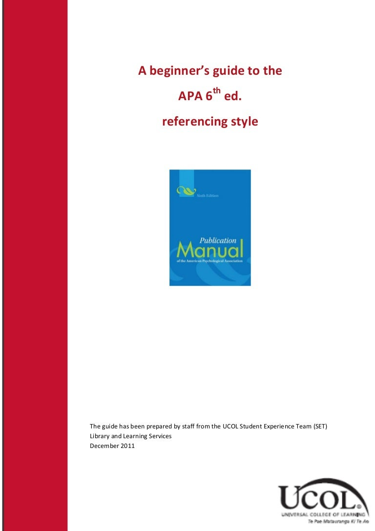 APA style report   th edition