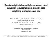 Random digit dialing cell phone sur...