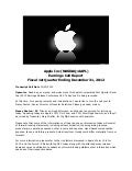 Apple inc (nasdaq.appl)   earnings call report - fiscal 1st quarter ending december 31, 2012