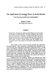 Application of learning theory to s...